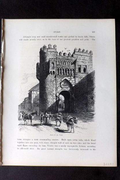 Picturesque Europe 1870s Antique Print. Puerta del Sol, Toledo, Spain